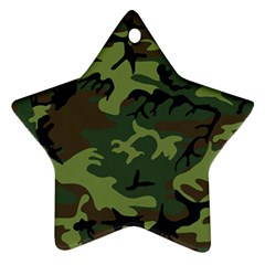 Camouflage Green Brown Black Star Ornament (Two Sides)