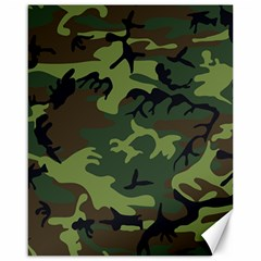 Camouflage Green Brown Black Canvas 16  x 20