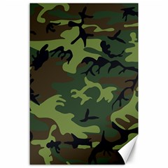 Camouflage Green Brown Black Canvas 24  x 36