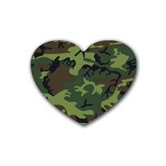 Camouflage Green Brown Black Rubber Coaster (Heart)