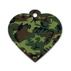 Camouflage Green Brown Black Dog Tag Heart (Two Sides)