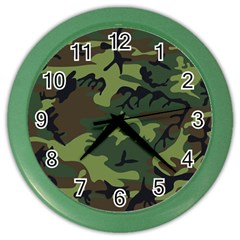 Camouflage Green Brown Black Color Wall Clocks