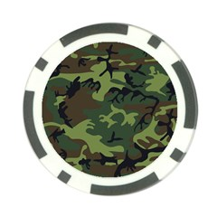 Camouflage Green Brown Black Poker Chip Card Guard