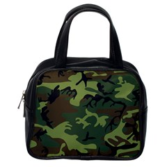 Camouflage Green Brown Black Classic Handbags (One Side)