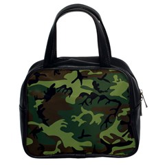 Camouflage Green Brown Black Classic Handbags (2 Sides)