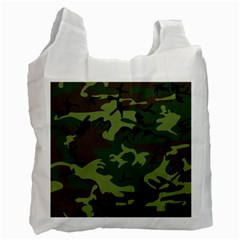 Camouflage Green Brown Black Recycle Bag (Two Side)