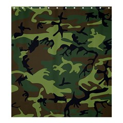 Camouflage Green Brown Black Shower Curtain 66  x 72  (Large)