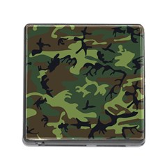 Camouflage Green Brown Black Memory Card Reader (Square)