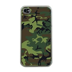 Camouflage Green Brown Black Apple iPhone 4 Case (Clear)