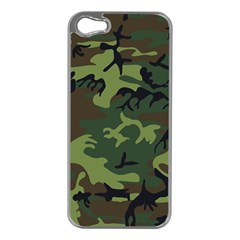 Camouflage Green Brown Black Apple iPhone 5 Case (Silver)