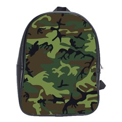 Camouflage Green Brown Black School Bags (XL)