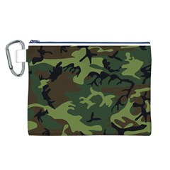 Camouflage Green Brown Black Canvas Cosmetic Bag (L)