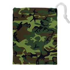 Camouflage Green Brown Black Drawstring Pouches (XXL)