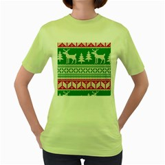 Christmas Jumper Pattern Women s Green T-Shirt