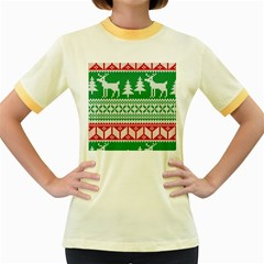 Christmas Jumper Pattern Women s Fitted Ringer T-Shirts