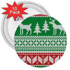 Christmas Jumper Pattern 3  Buttons (10 pack)