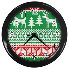 Christmas Jumper Pattern Wall Clocks (Black)