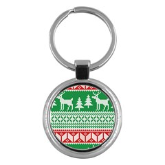 Christmas Jumper Pattern Key Chains (Round)