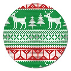 Christmas Jumper Pattern Magnet 5  (Round)
