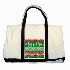 Christmas Jumper Pattern Two Tone Tote Bag