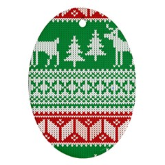 Christmas Jumper Pattern Oval Ornament (Two Sides)
