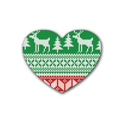 Christmas Jumper Pattern Heart Coaster (4 pack)