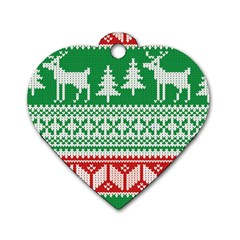 Christmas Jumper Pattern Dog Tag Heart (Two Sides)