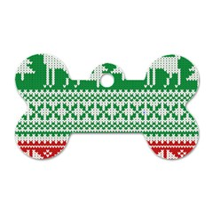 Christmas Jumper Pattern Dog Tag Bone (One Side)