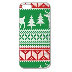 Christmas Jumper Pattern Apple Seamless iPhone 5 Case (Clear)