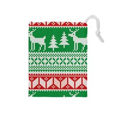 Christmas Jumper Pattern Drawstring Pouches (Medium)
