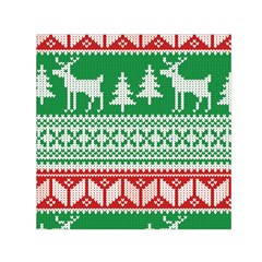 Christmas Jumper Pattern Small Satin Scarf (Square)