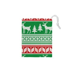 Christmas Jumper Pattern Drawstring Pouches (XS)