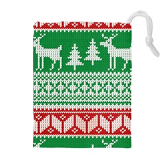 Christmas Jumper Pattern Drawstring Pouches (Extra Large)