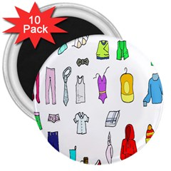 Clothing Boots Shoes Shorts Scarf 3  Magnets (10 pack)