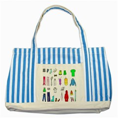 Clothing Boots Shoes Shorts Scarf Striped Blue Tote Bag