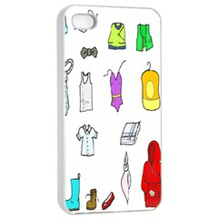 Clothing Boots Shoes Shorts Scarf Apple iPhone 4/4s Seamless Case (White)