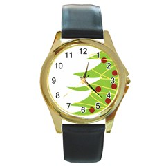 Christmas Tree Christmas Round Gold Metal Watch