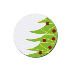 Christmas Tree Christmas Rubber Round Coaster (4 pack)