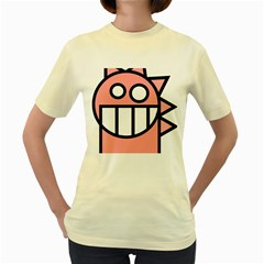 Dragon Head Pink Childish Cartoon Women s Yellow T-Shirt