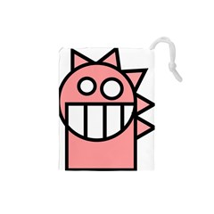 Dragon Head Pink Childish Cartoon Drawstring Pouches (Small)