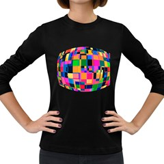 Color Focusing Screen Vault Arched Women s Long Sleeve Dark T-Shirts