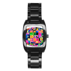 Color Focusing Screen Vault Arched Stainless Steel Barrel Watch