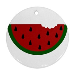 Food Slice Fruit Bitten Watermelon Ornament (Round)