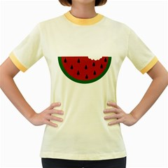 Food Slice Fruit Bitten Watermelon Women s Fitted Ringer T-Shirts