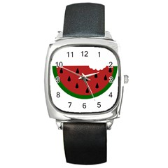 Food Slice Fruit Bitten Watermelon Square Metal Watch