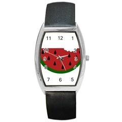 Food Slice Fruit Bitten Watermelon Barrel Style Metal Watch