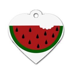Food Slice Fruit Bitten Watermelon Dog Tag Heart (Two Sides)