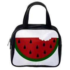 Food Slice Fruit Bitten Watermelon Classic Handbags (One Side)