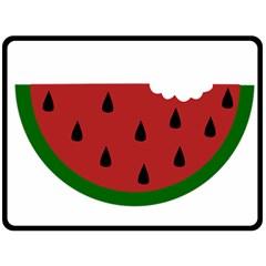 Food Slice Fruit Bitten Watermelon Double Sided Fleece Blanket (Large)