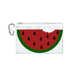 Food Slice Fruit Bitten Watermelon Canvas Cosmetic Bag (S)